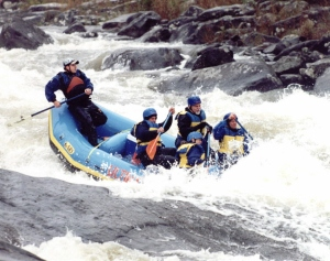 When rafting in white water, I was taught  to paddle like hell instead of holding on. This technique pushes you into the raft instead of trying to fight the forces of nature.