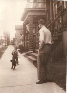My dad  with Tuffy and me in 1949.
