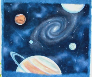 This painting by Paul Mandracchia is a study for a mural on the ceiling of a child's room.